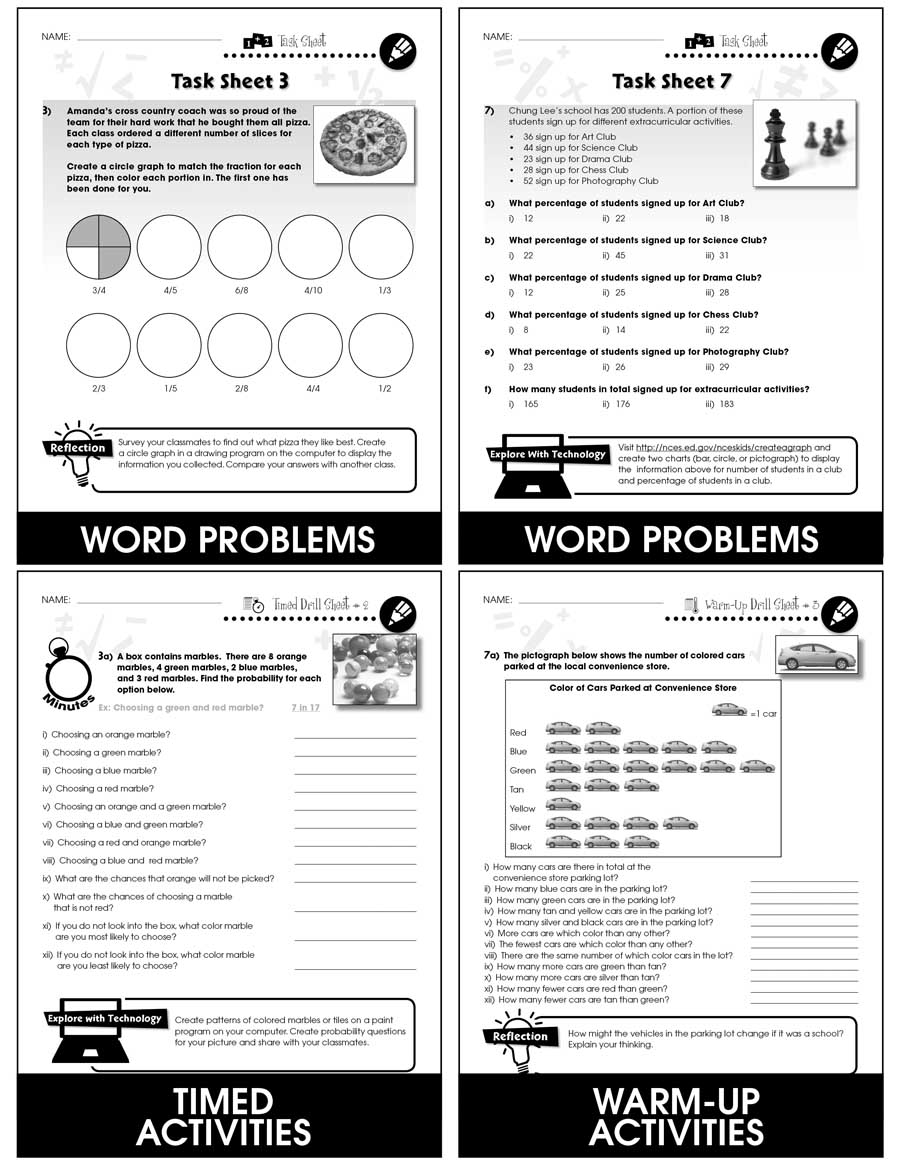 Data Analysis & Probability - Task & Drill Sheets Gr. 3-5 - print book