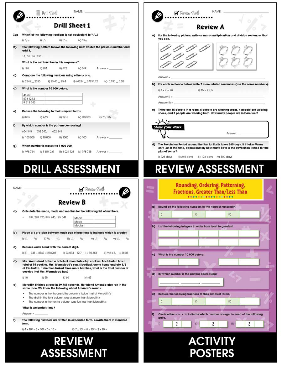Number & Operations - Task & Drill Sheets Gr. 6-8 - print book