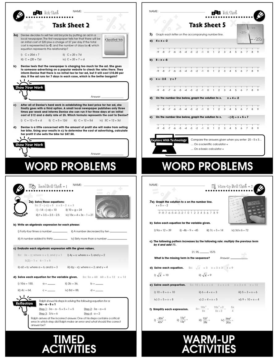 Algebra - Task & Drill Sheets Gr. 6-8 - print book