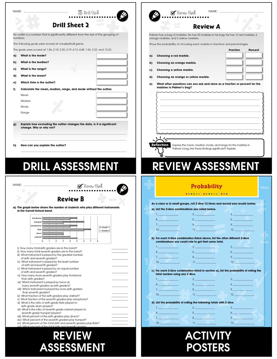 Data Analysis & Probability - Task & Drill Sheets Gr. 6-8 - print book