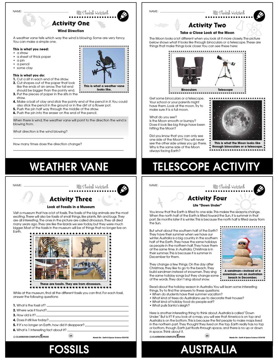 Hands-On STEAM - Earth & Space Science Gr. 1-5 - BONUS WORKSHEETS - eBook