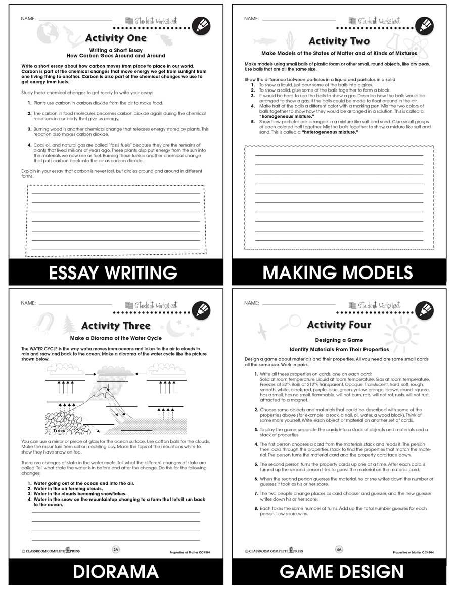 Properties of Matter - BONUS WORKSHEETS - Grades 5 to 8 ...