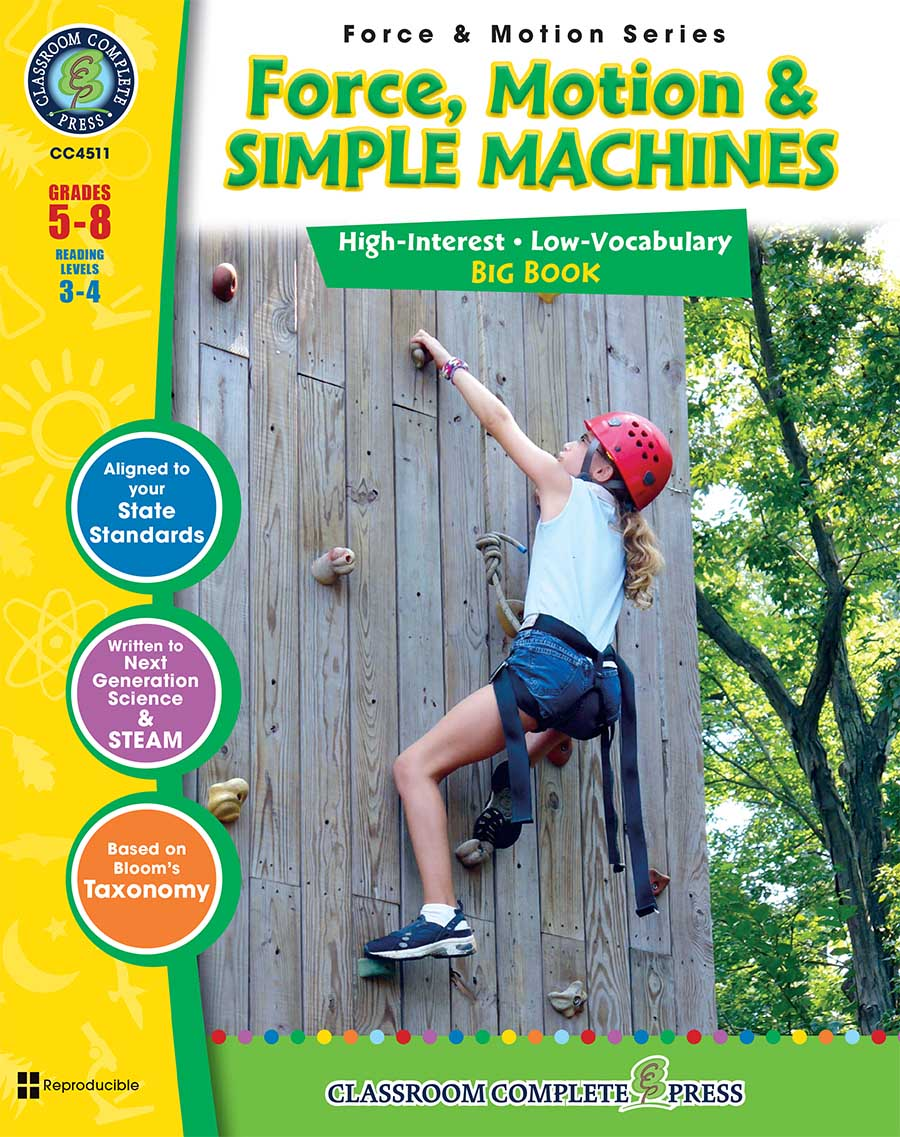 Force, Motion & Simple Machines Big Book Gr. 5-8 - print book