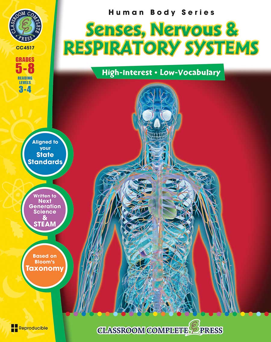 Senses, Nervous & Respiratory Systems Gr. 5-8 - print book