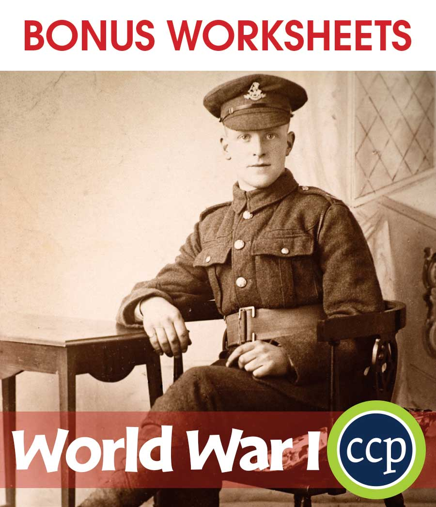 World War I Gr. 5-8 - BONUS WORKSHEETS - eBook