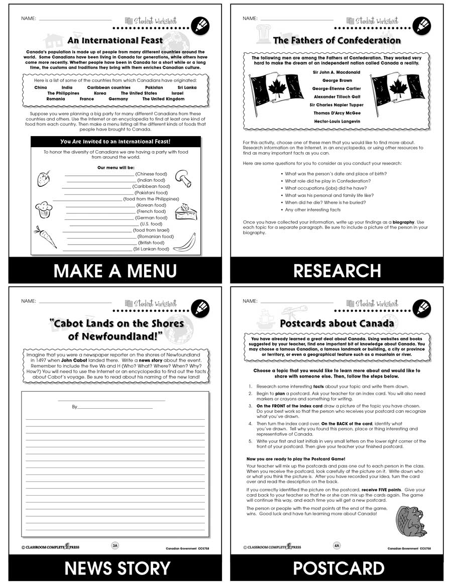 Canadian government worksheets for 5th grade