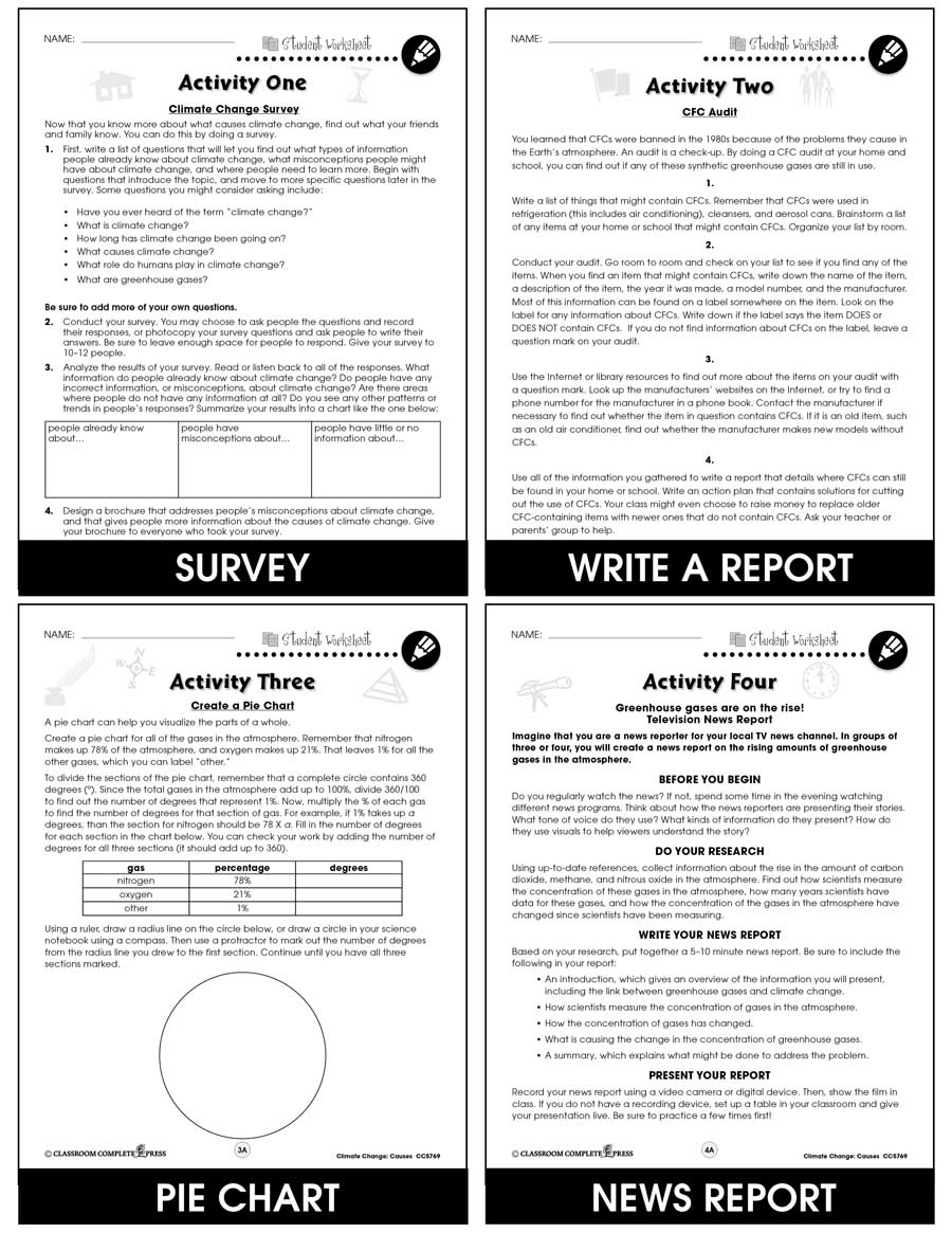 Climate Change: Causes Gr. 5-8 - BONUS WORKSHEETS - eBook