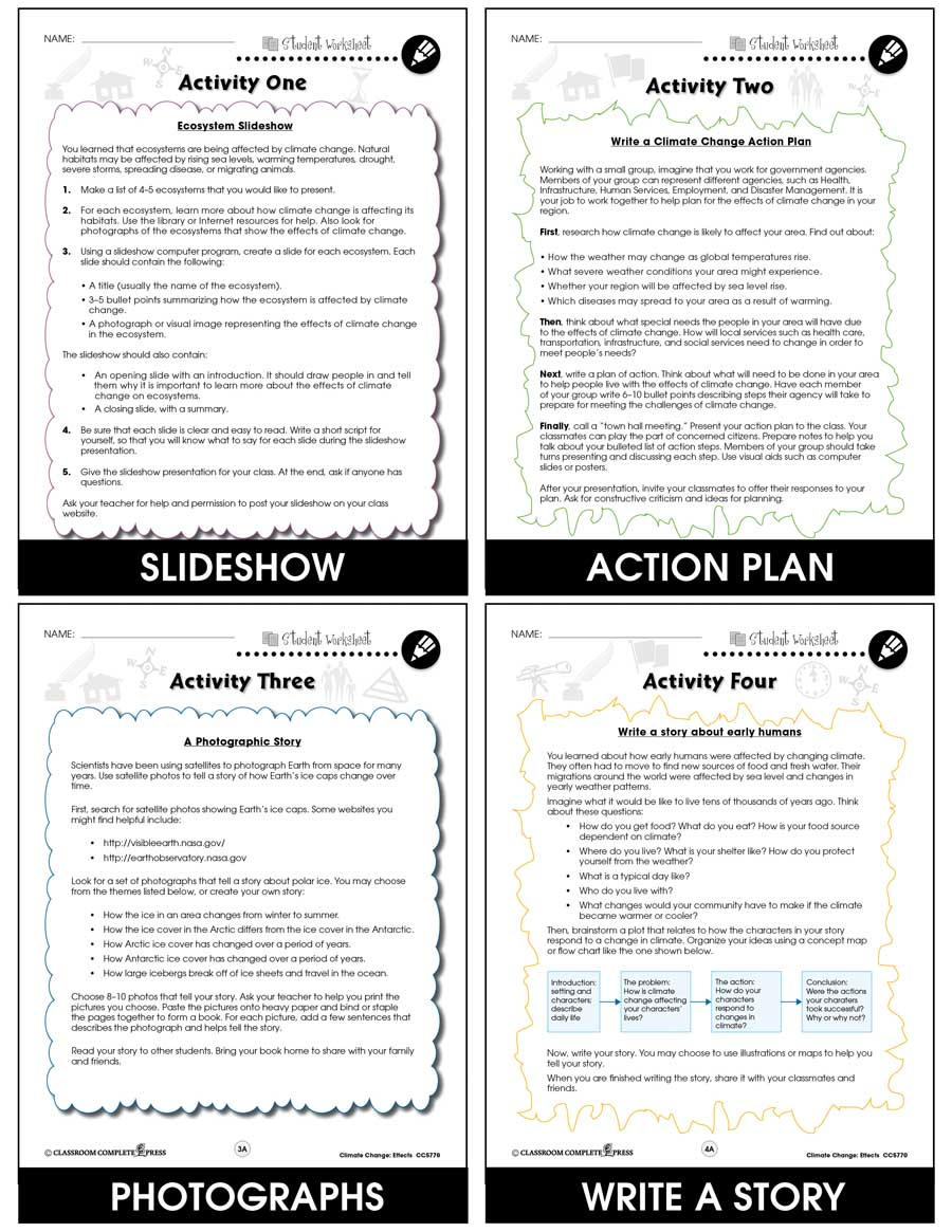 Global Warming Effects Bonus Worksheets Grades 5 To 8