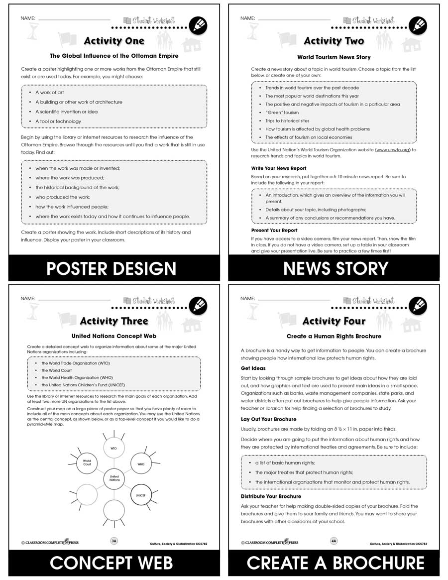 Culture, Society & Globalization Gr. 5-8 - BONUS WORKSHEETS - eBook