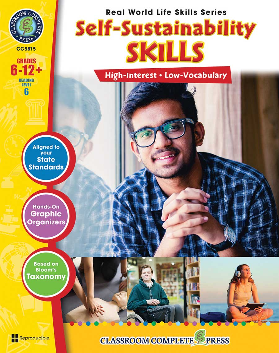 Real World Life Skills - Self-Sustainability Skills Gr. 6-12+ - print book