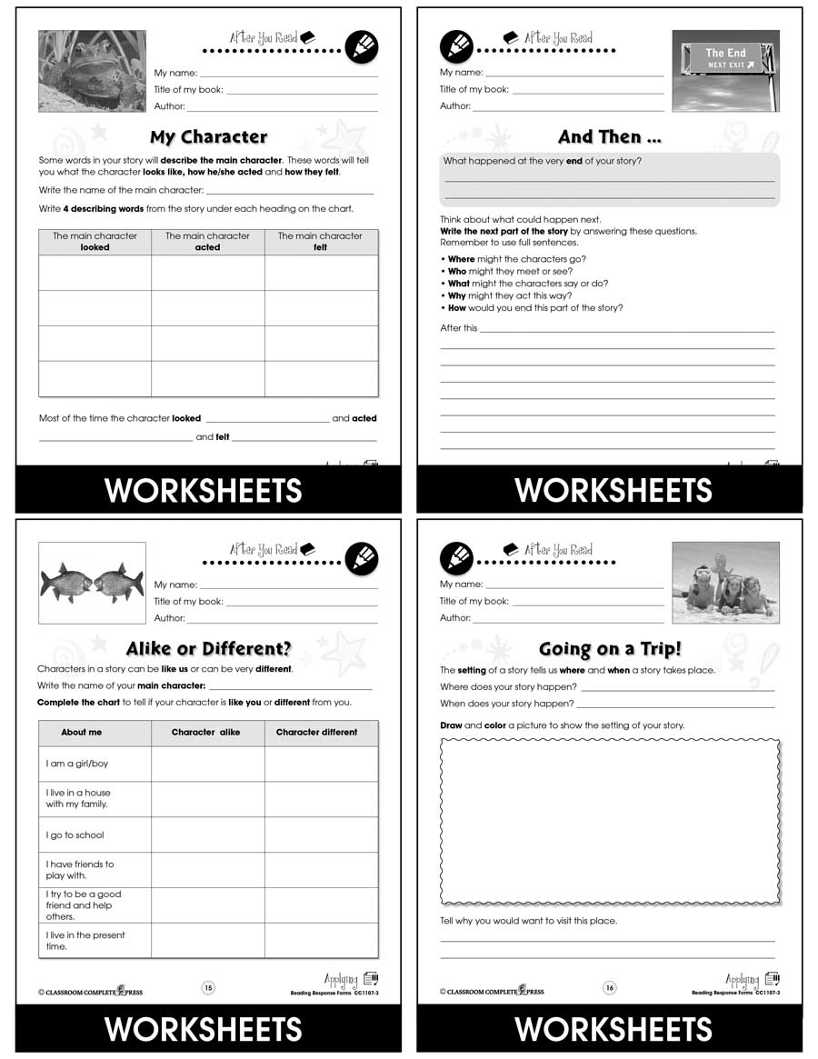 Reading Response Forms: Applying Gr. 3-4 - Chapter Slice eBook