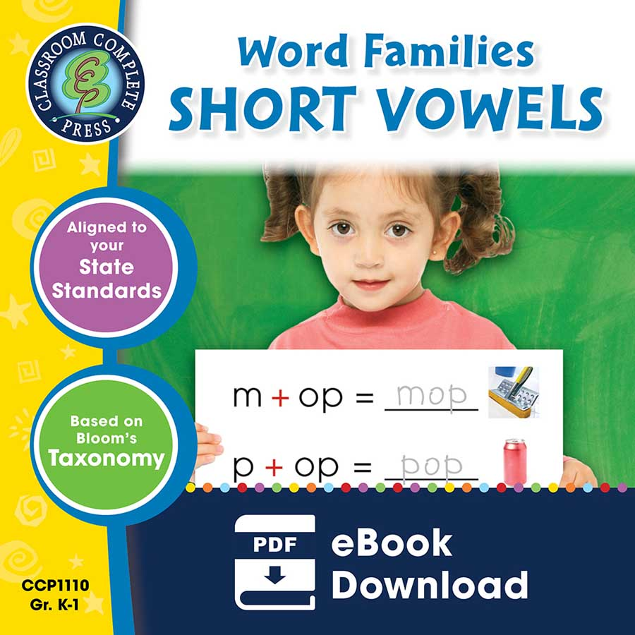 Word Families - Short Vowels Gr. PK-2 - eBook