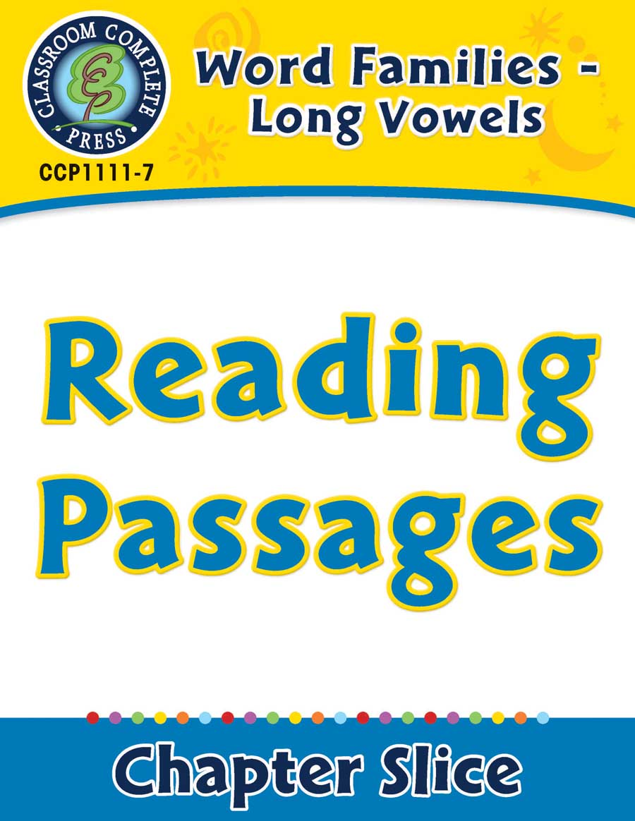 Word Families - Long Vowels: Reading Passages - Chapter Slice eBook