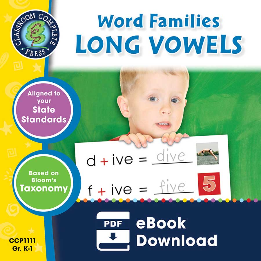Word Families - Long Vowels Gr. PK-2 - eBook