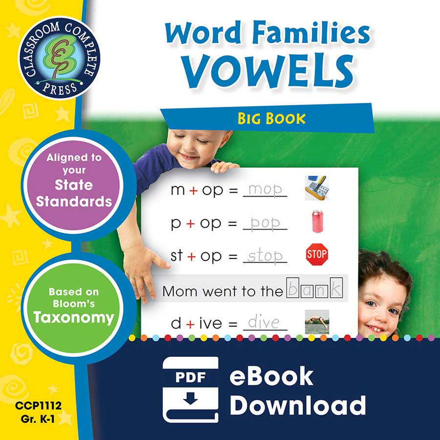 Word Families - Vowels Big Book Gr. PK-2 - eBook