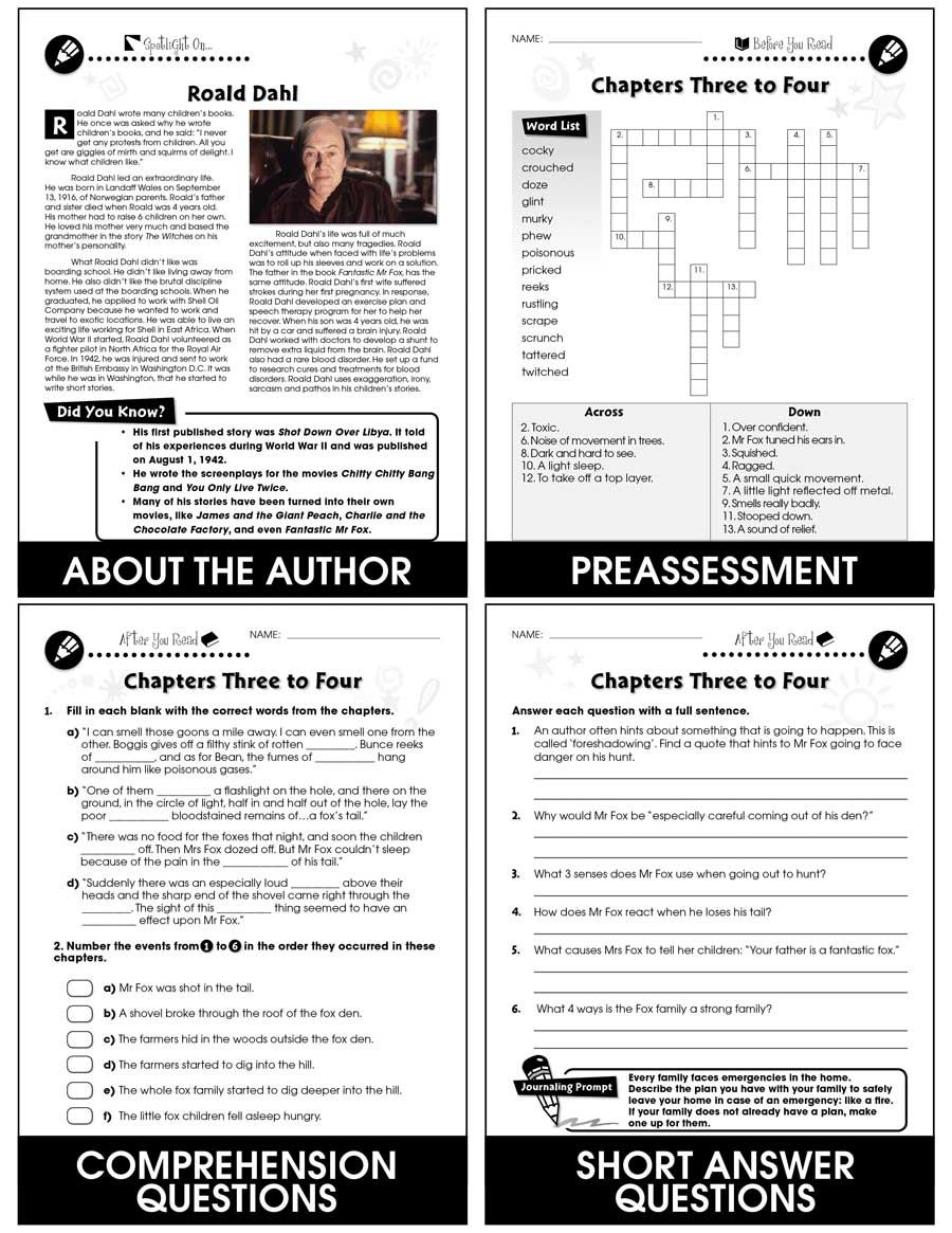 Fantastic Mr Fox Novel Study Guide Grades 3 To 4 Ebook Lesson Plan Ccp Interactive