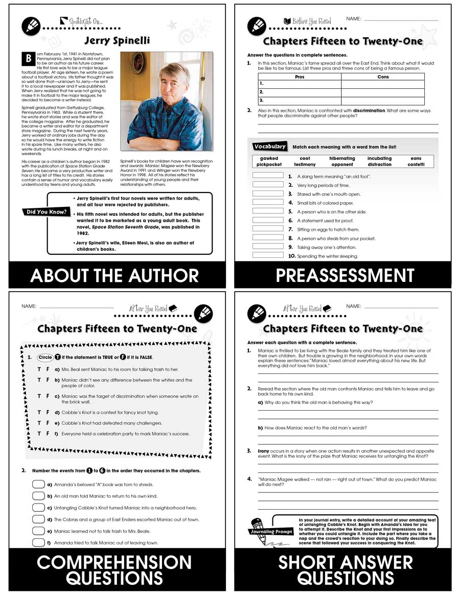 Maniac magee novel study guide grades 5 to 6 ebook lesson maniac magee literature kit gr 5 6 ebook fandeluxe Images