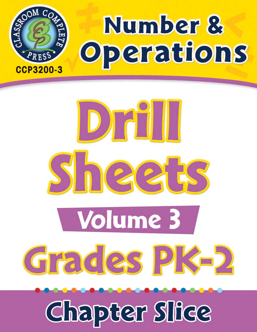 Number & Operations - Drill Sheets Vol. 3 Gr. PK-2 - Chapter Slice eBook