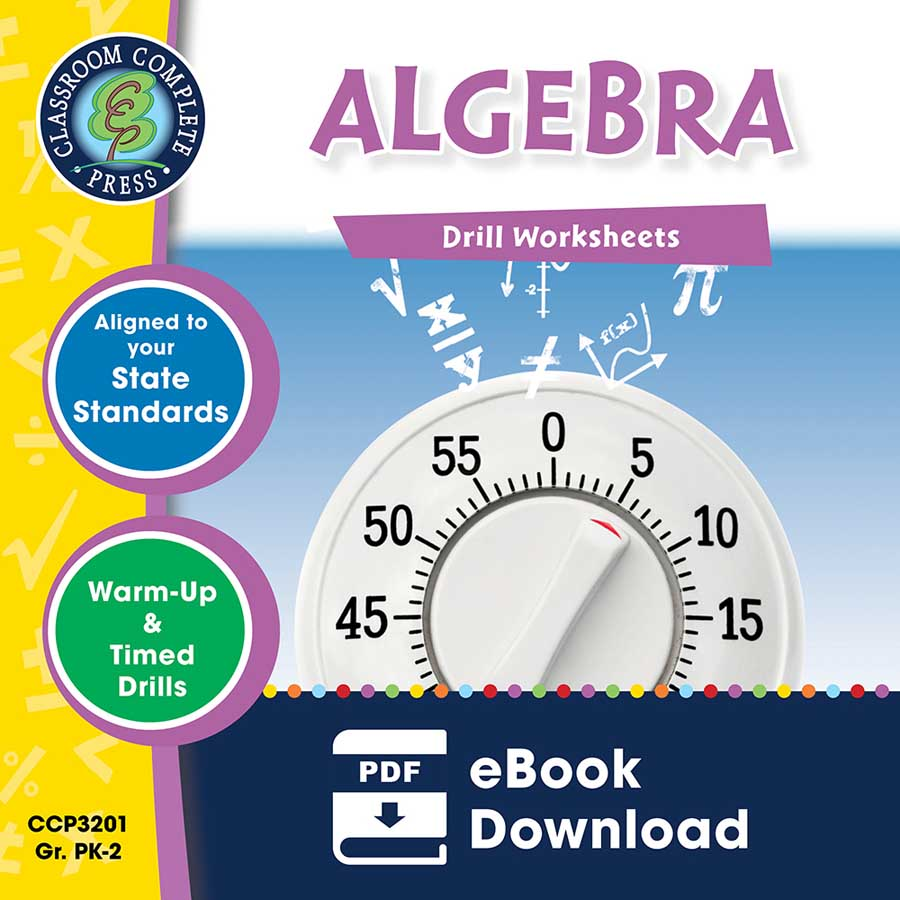 Algebra - Drill Sheets Gr. PK-2 - eBook