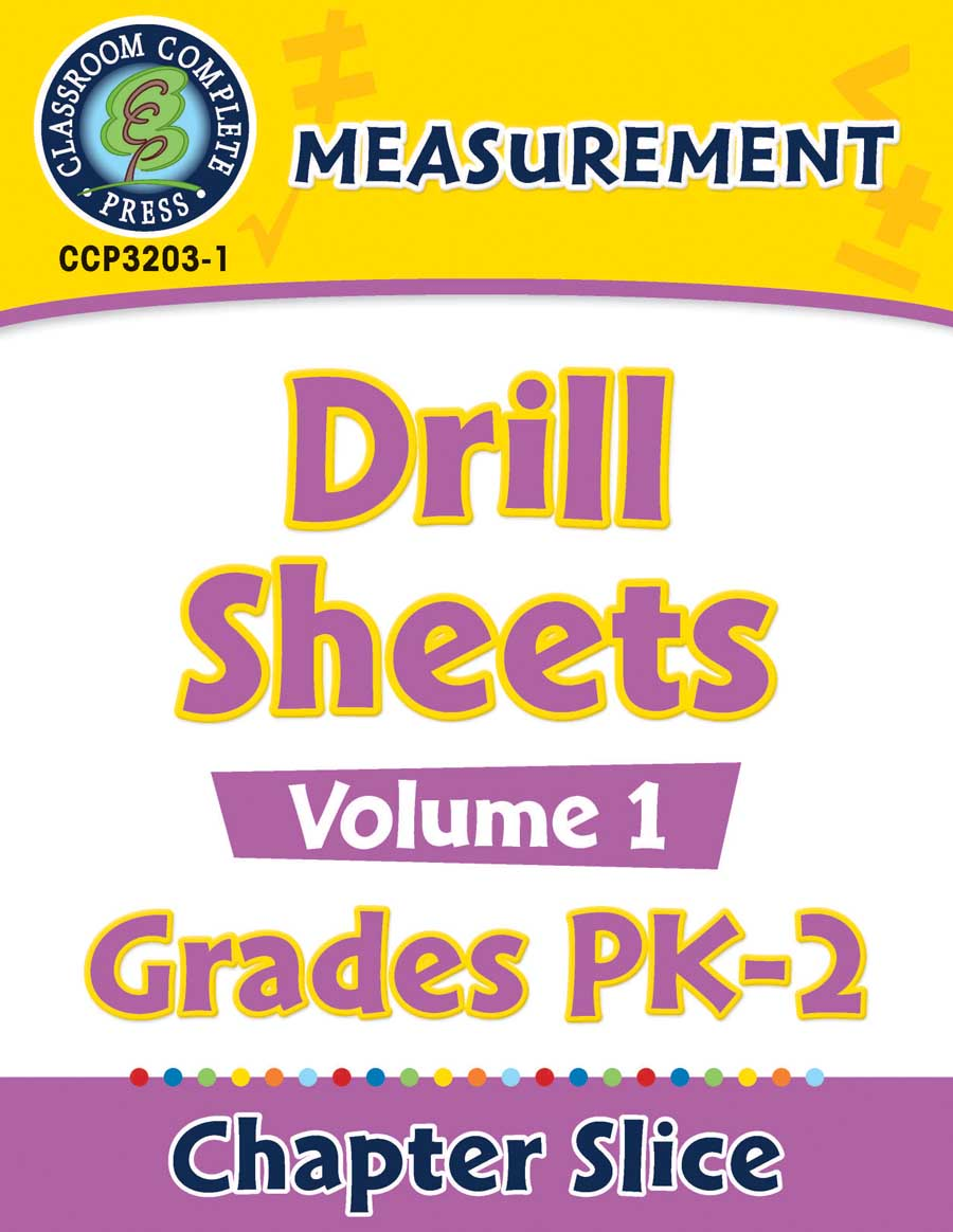 Measurement - Drill Sheets Vol. 1 Gr. PK-2 - Chapter Slice eBook