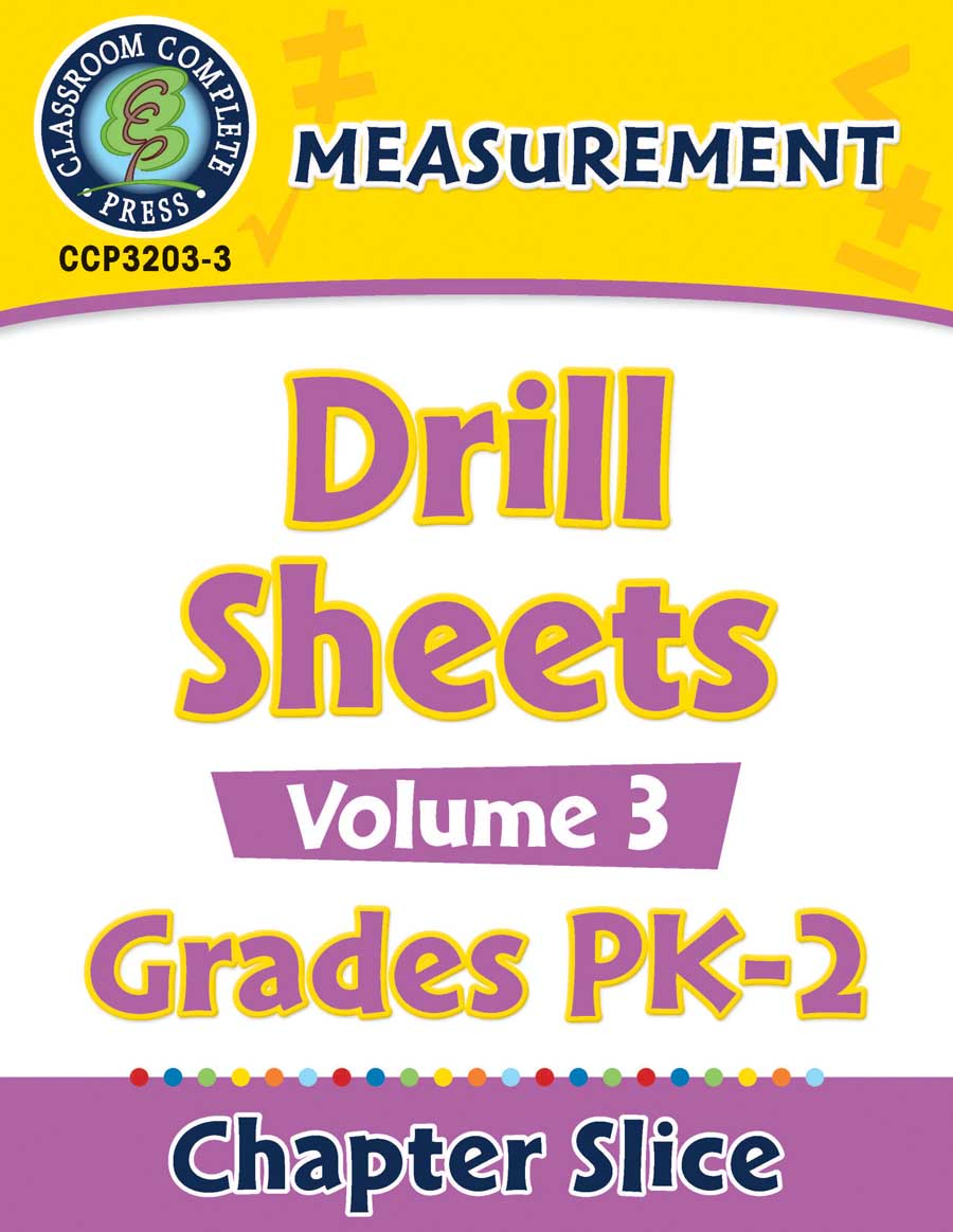 Measurement - Drill Sheets Vol. 3 Gr. PK-2 - Chapter Slice eBook