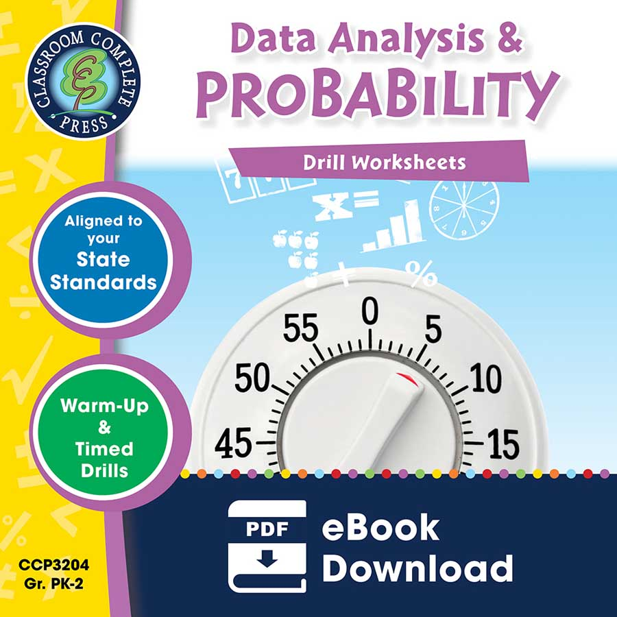 Data Analysis & Probability - Drill Sheets Gr. PK-2 - eBook