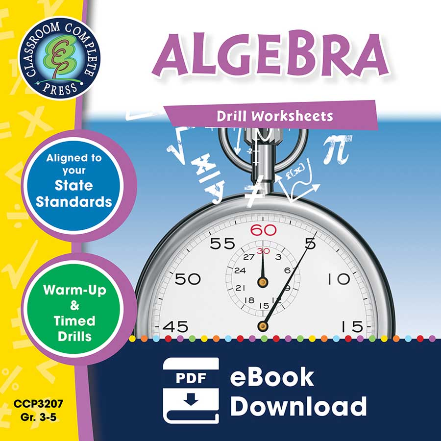 Algebra - Drill Sheets Gr. 3-5 - eBook