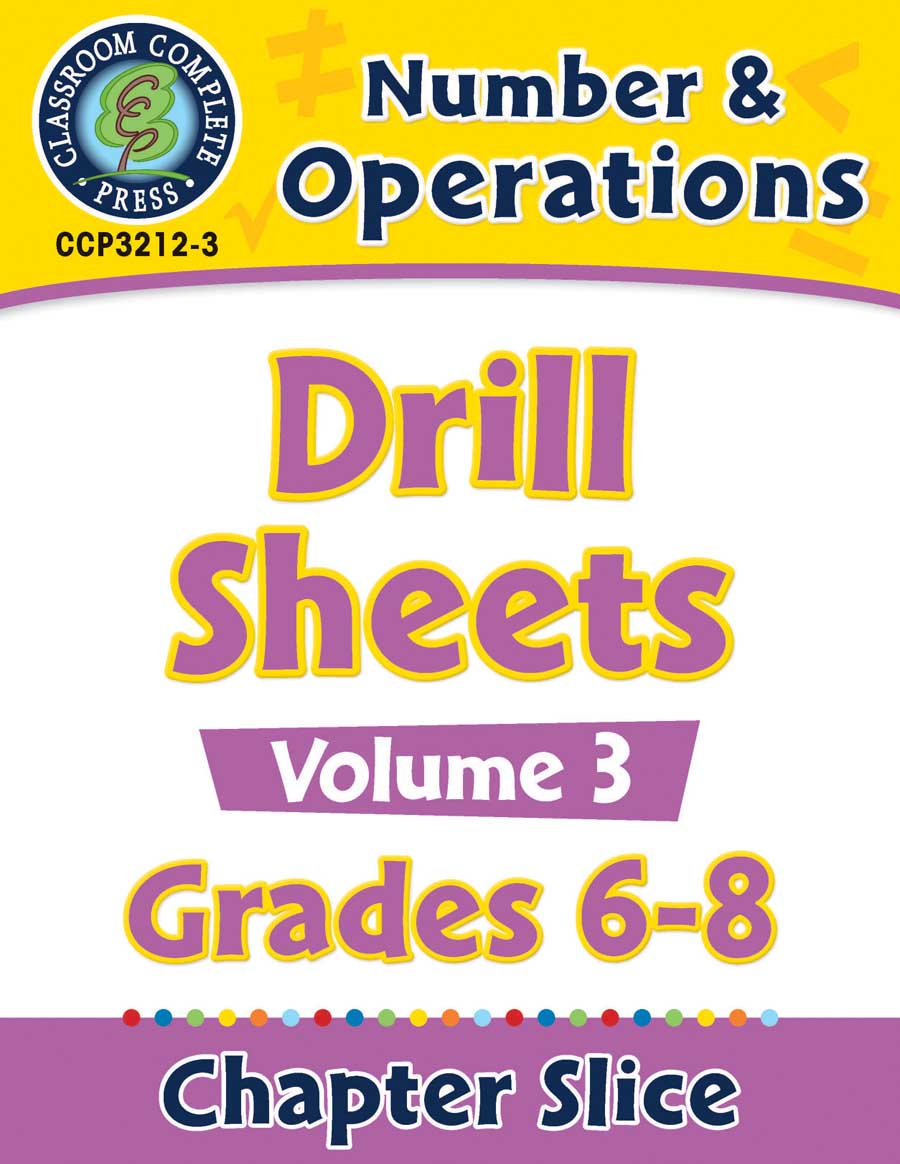 Number & Operations - Drill Sheets Vol. 3 Gr. 6-8 - Chapter Slice eBook