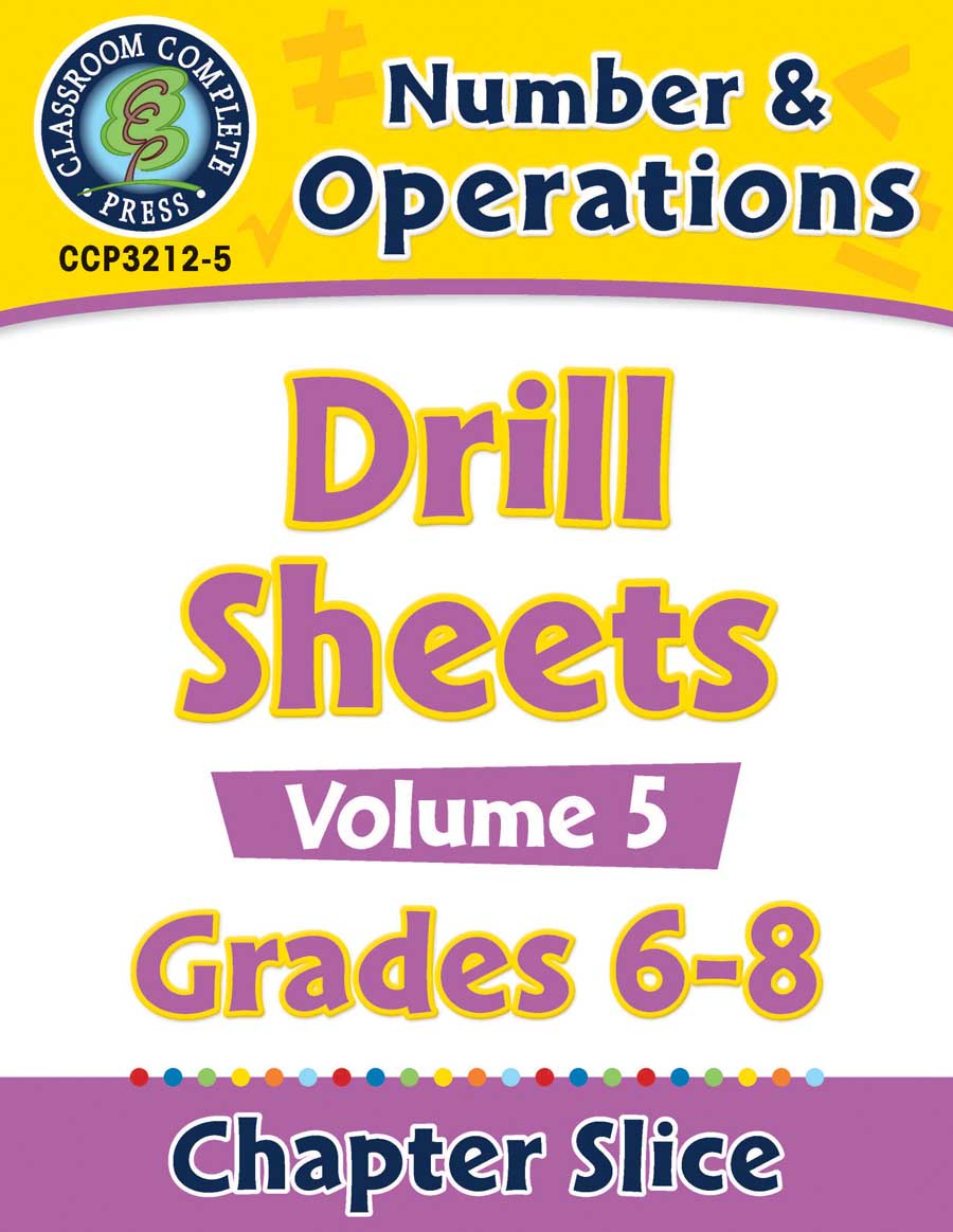 Number & Operations - Drill Sheets Vol. 5 Gr. 6-8 - Chapter Slice eBook