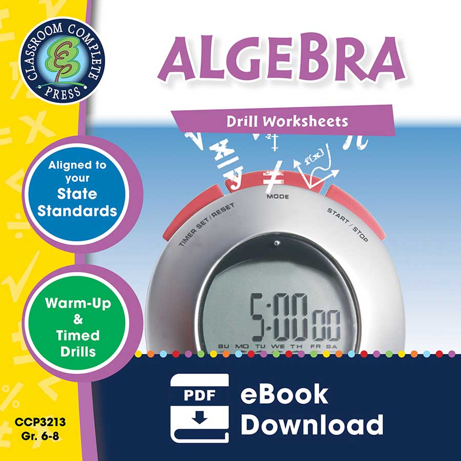 Algebra - Drill Sheets Gr. 6-8 - eBook