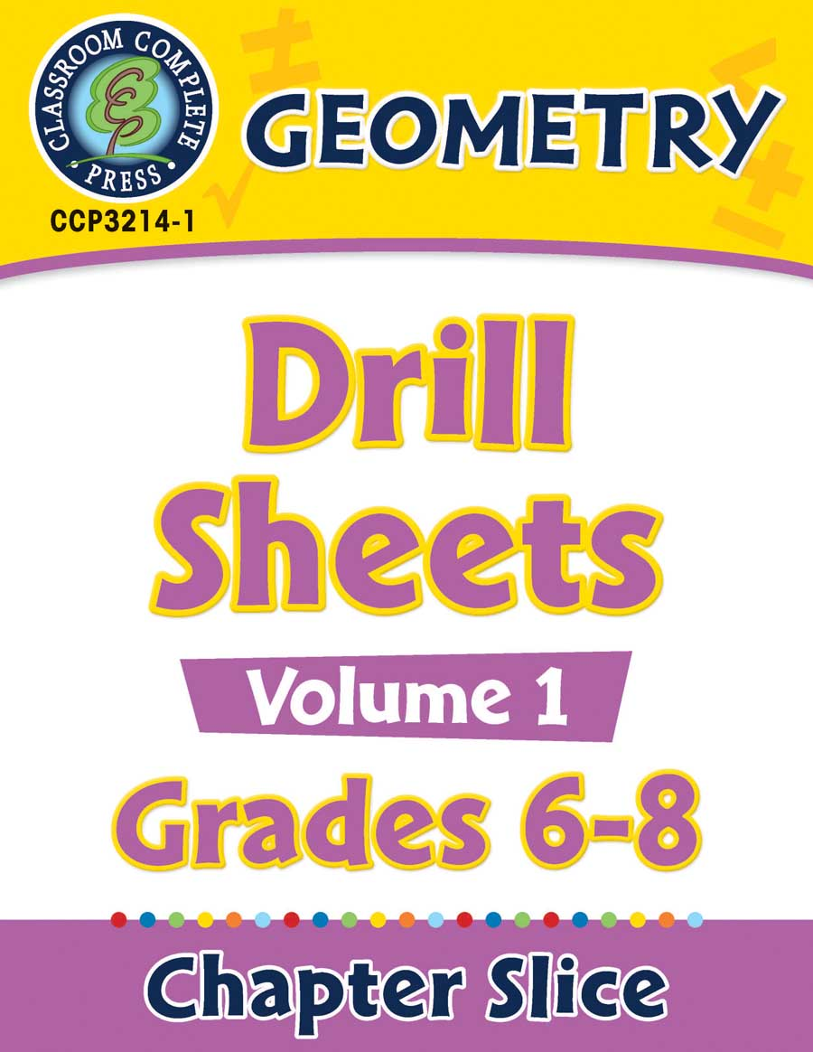 Geometry - Drill Sheets Vol. 1 Gr. 6-8 - Chapter Slice eBook