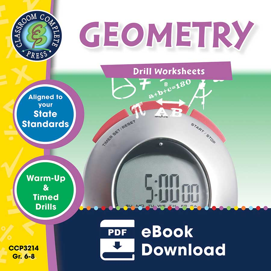 Geometry - Drill Sheets Gr. 6-8 - eBook