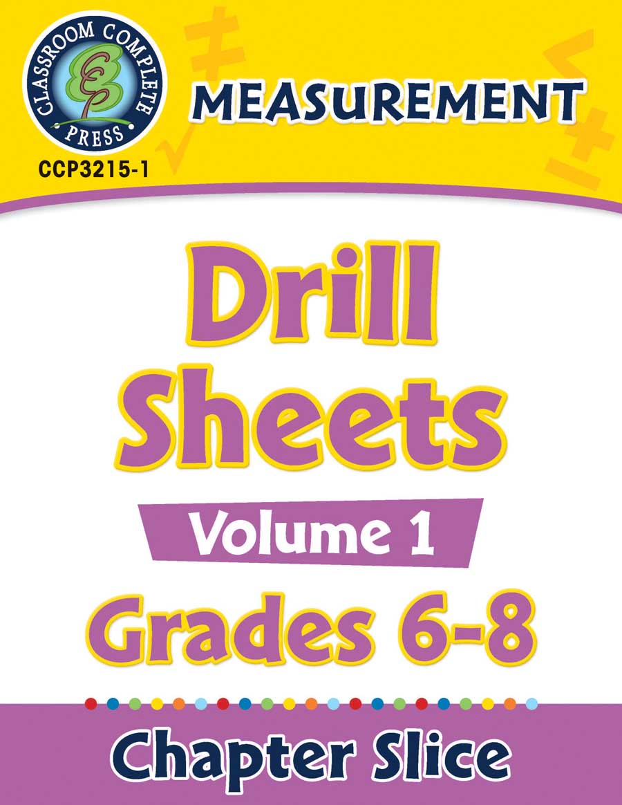 Measurement - Drill Sheets Vol. 1 Gr. 6-8 - Chapter Slice eBook