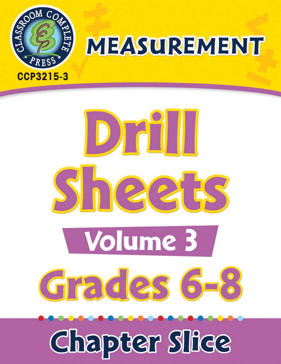 Measurement - Drill Sheets Vol. 3 Gr. 6-8 - Chapter Slice eBook
