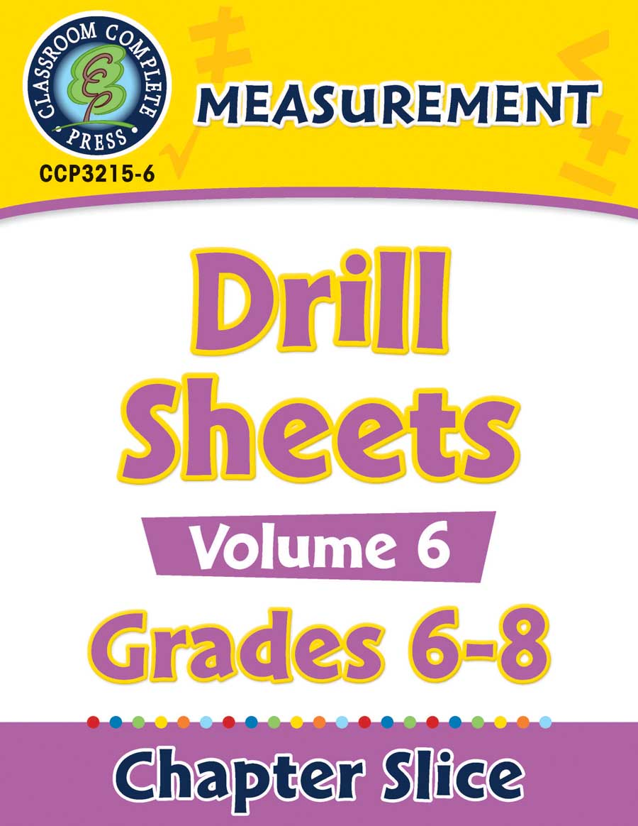 Measurement - Drill Sheets Vol. 6 Gr. 6-8 - Chapter Slice eBook