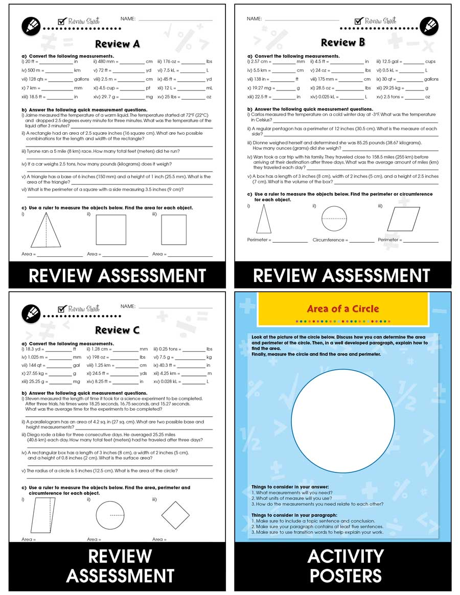Measurement - Drill Sheets Gr. 6-8 - eBook