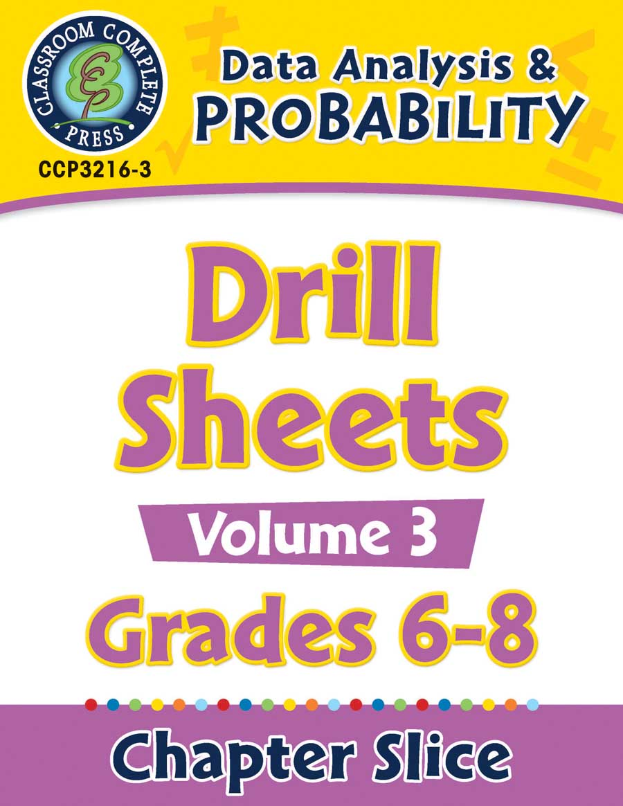 Data Analysis & Probability - Drill Sheets Vol. 3 Gr. 6-8 - Chapter Slice eBook