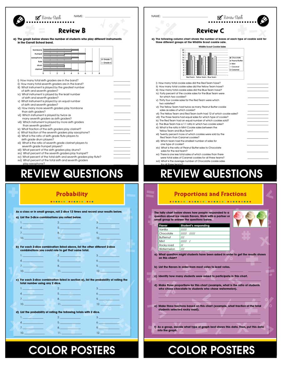 Data Analysis & Probability - Drill Sheets Vol. 4 Gr. 6-8 - Chapter Slice eBook