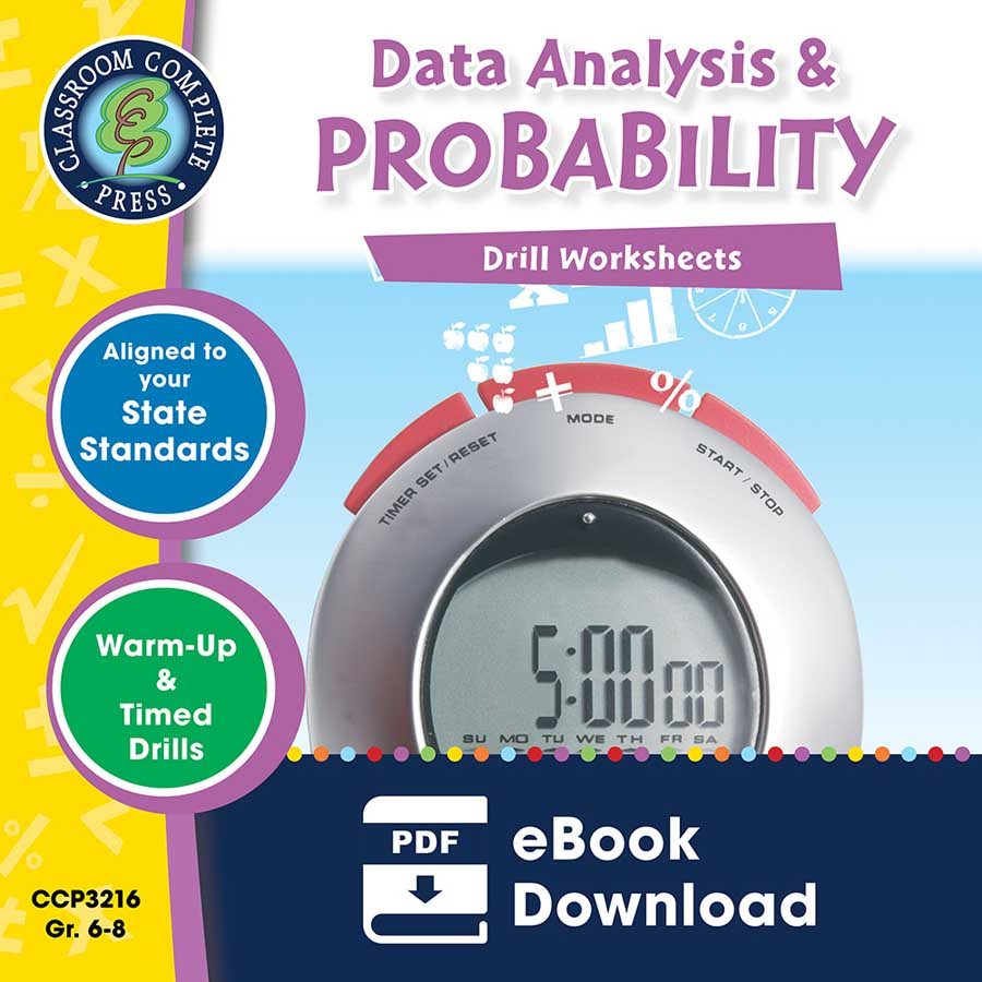 Data Analysis & Probability - Drill Sheets Gr. 6-8 - eBook