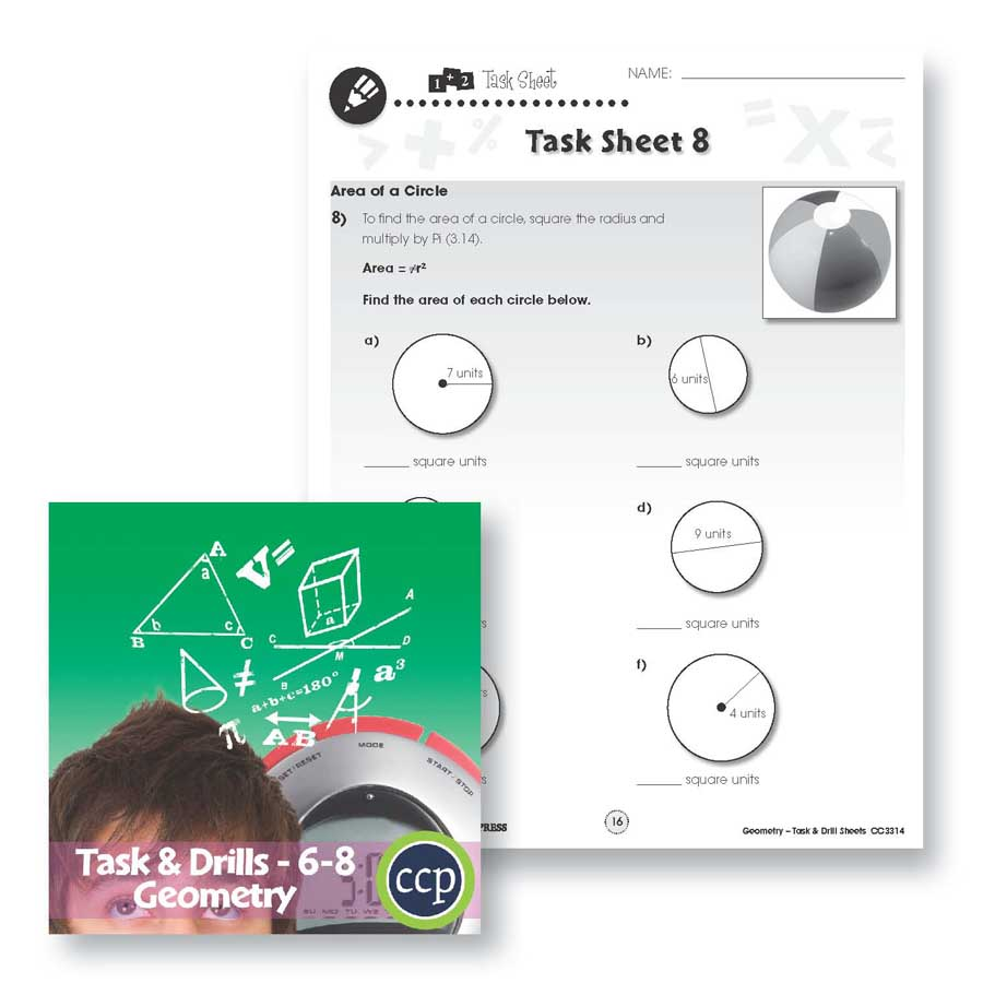 Geometry Task & Drill Sheets: Area of a Circle Gr. 6-8 - WORKSHEETS - eBook