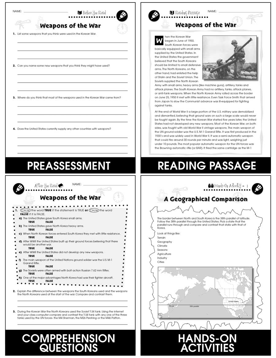 Korean War Weapons Of The War Gr 5 8 Grades 5 To 8 Lesson Plan Worksheets Ccp Interactive