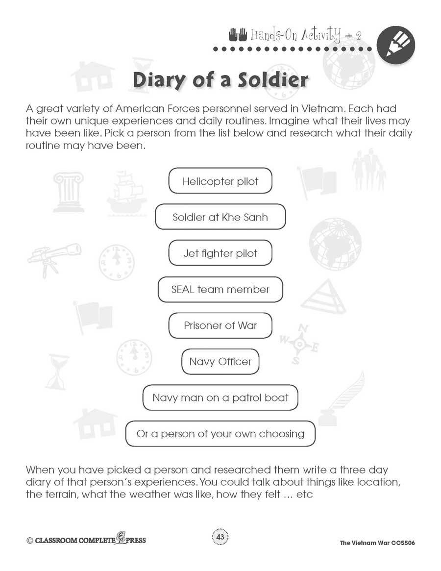Vietnam War Diary Of A Soldier Worksheet Grades 5 To