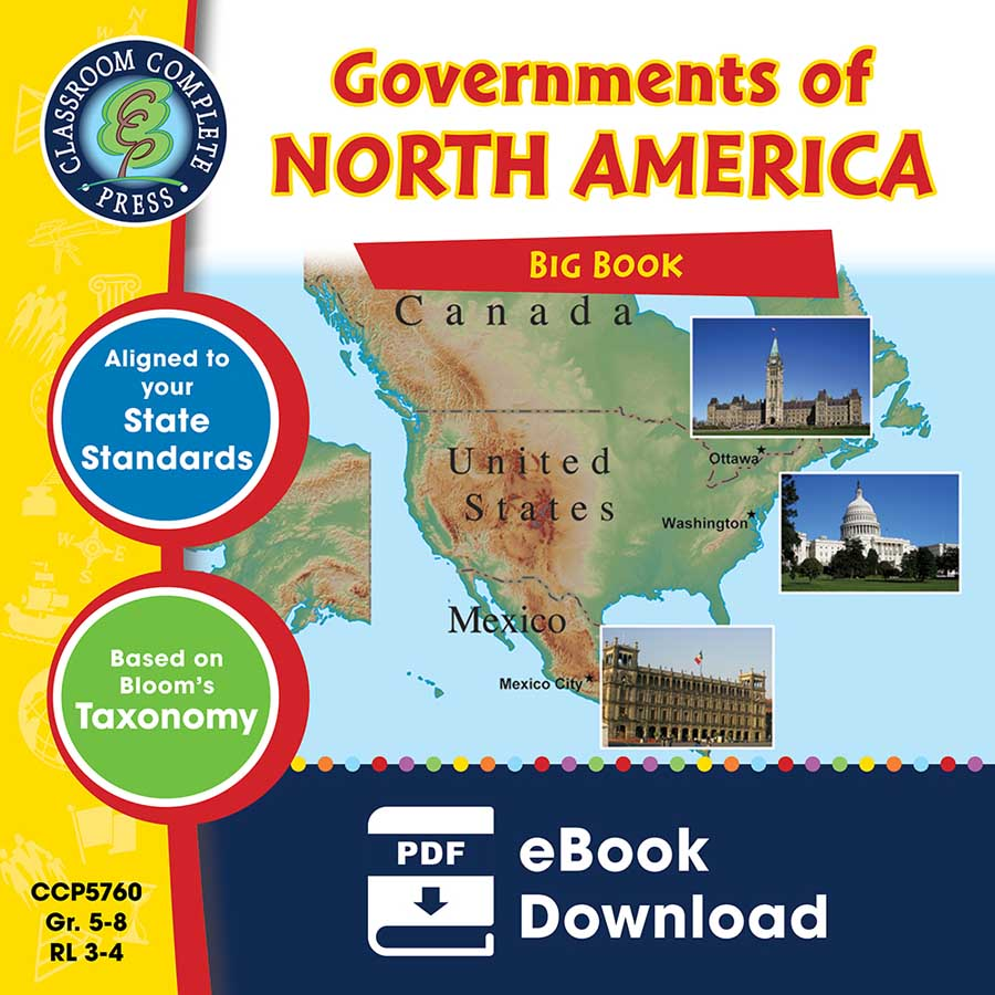 Governments of North America Big Book Gr. 5-8 - eBook