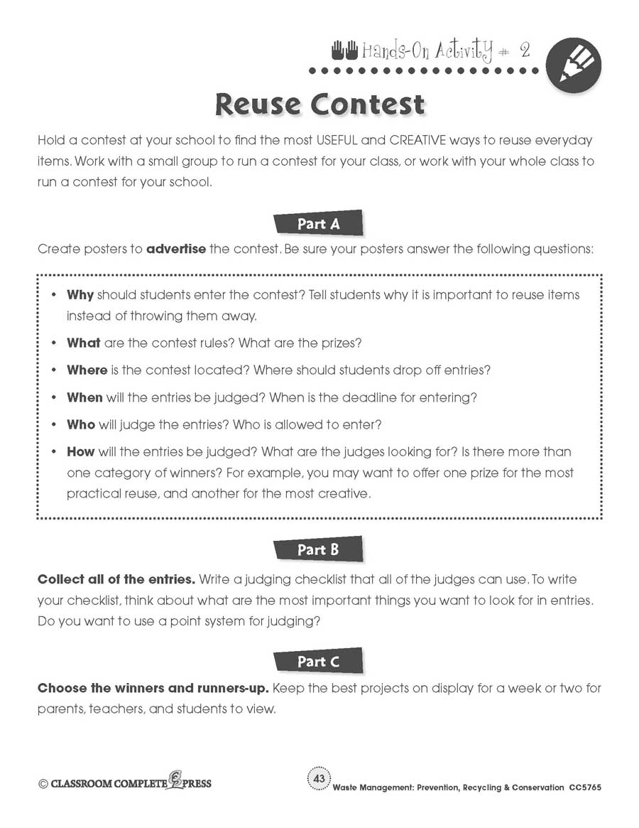 Prevention, Recycling & Conservation: Reuse Contest Gr. 5-8 - WORKSHEETS - eBook