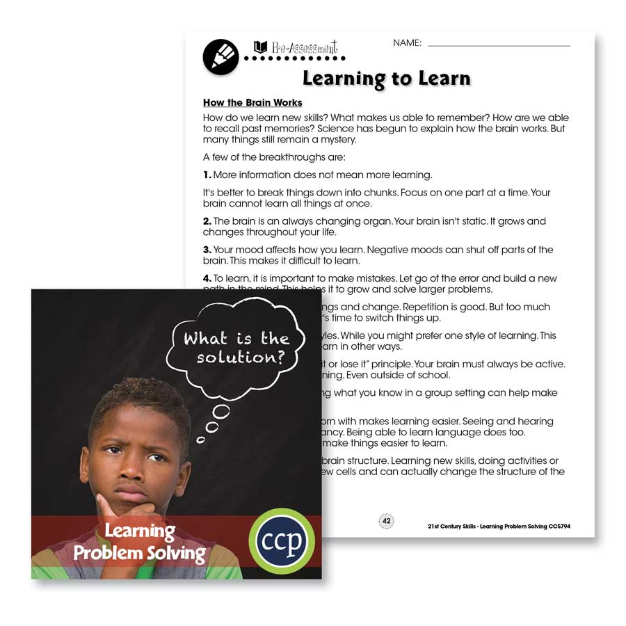 Learning Problem Solving: How the Brain Works Gr. 3-8+ - WORKSHEETS - eBook