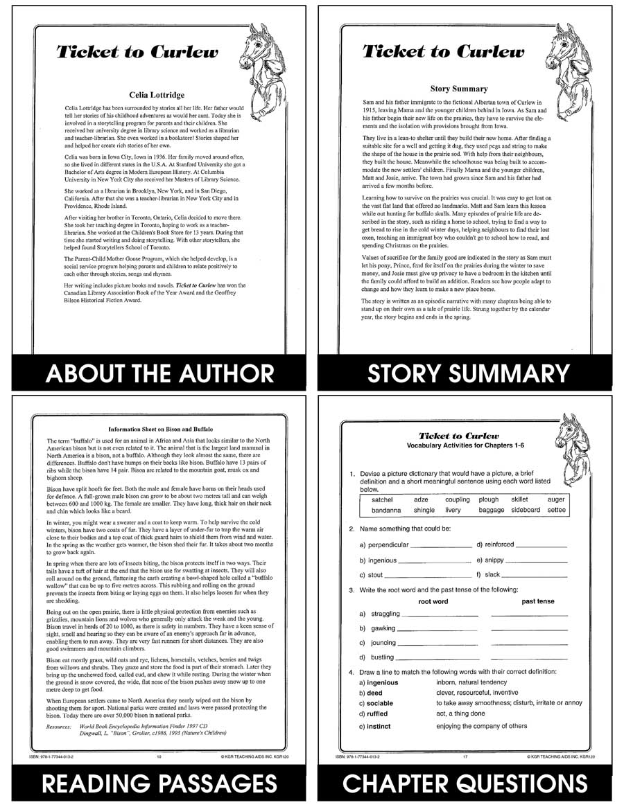 TICKET TO CURLEW NOVEL STUDY Gr. 4-8 - eBook