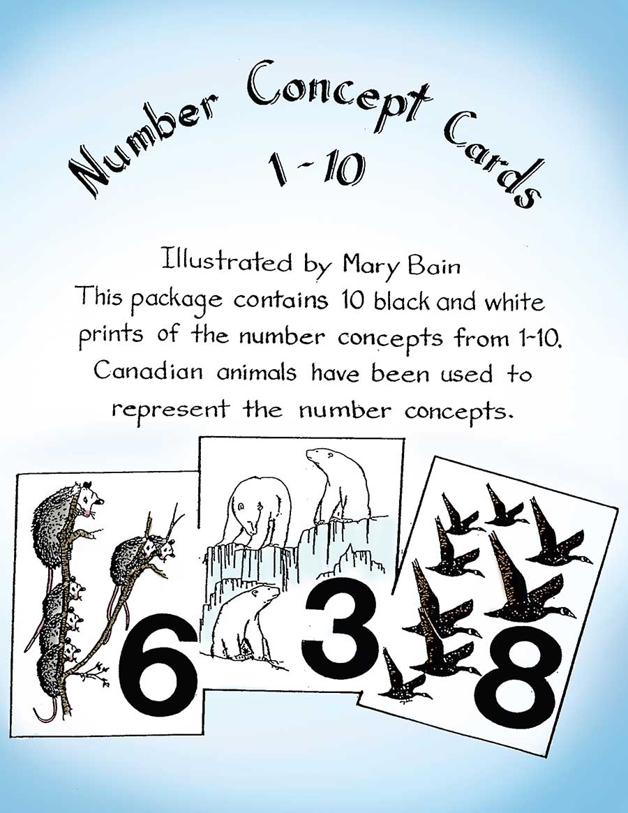 NUMBER CONCEPT CARDS 1-10 (ANIMAL PICTURES) Gr. K-3 - eBook
