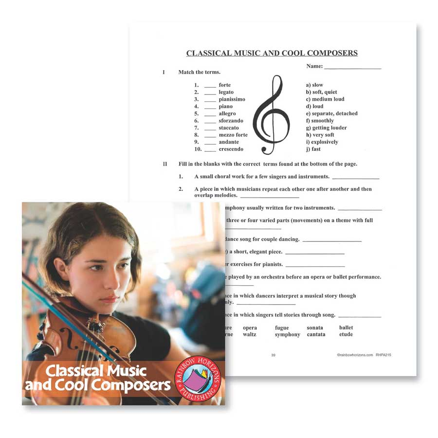 Classical Music and Cool Composers: Test Gr. 6-8 - WORKSHEET - eBook