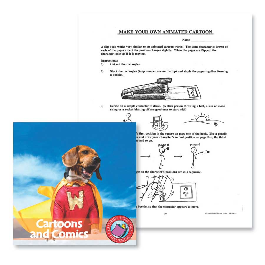 Cartoons and Comics: Make Your Own Animated Cartoon Gr. 6-8 - WORKSHEET - eBook